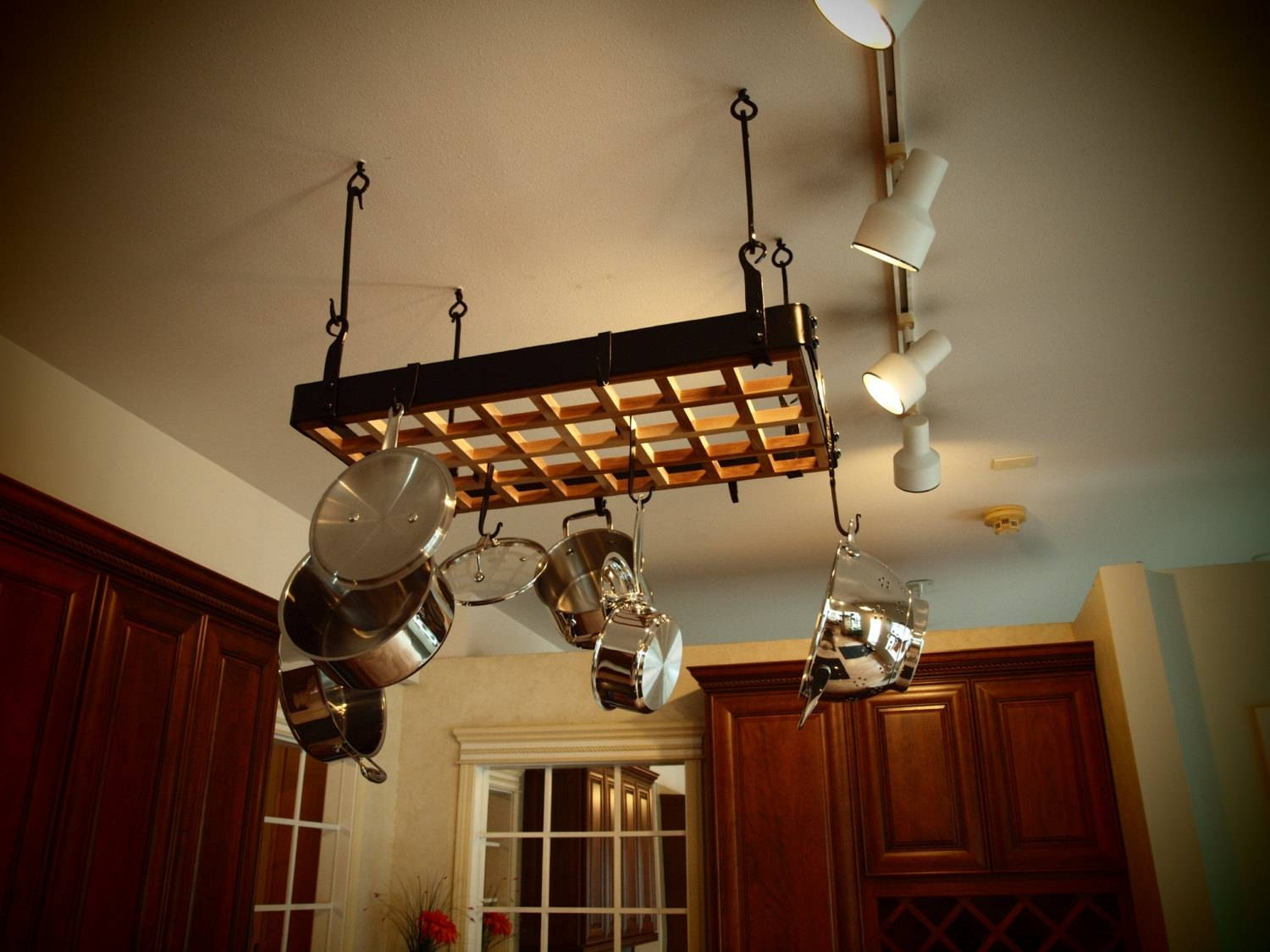 Custom Forged Hanging Pot Rack in Pot Rack With Lights Fixtures (Image 2 of 15)