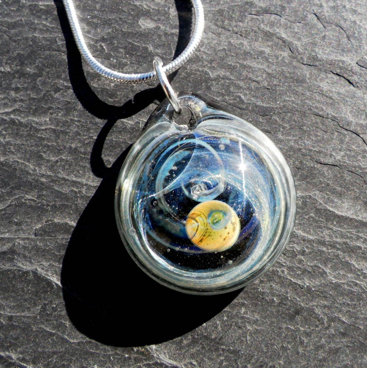 Custom Hand-Blown Round Glass Pendant With Galaxy Design in Hand Blown Glass Pendants (Image 9 of 15)