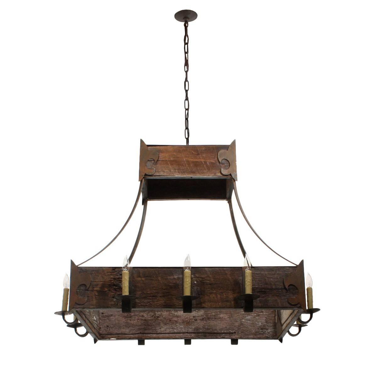 Custom-Made Fleur-De-Lis Iron And Reclaimed Wood Light Fixture inside Fleur De Lis Lights Fixtures (Image 5 of 15)