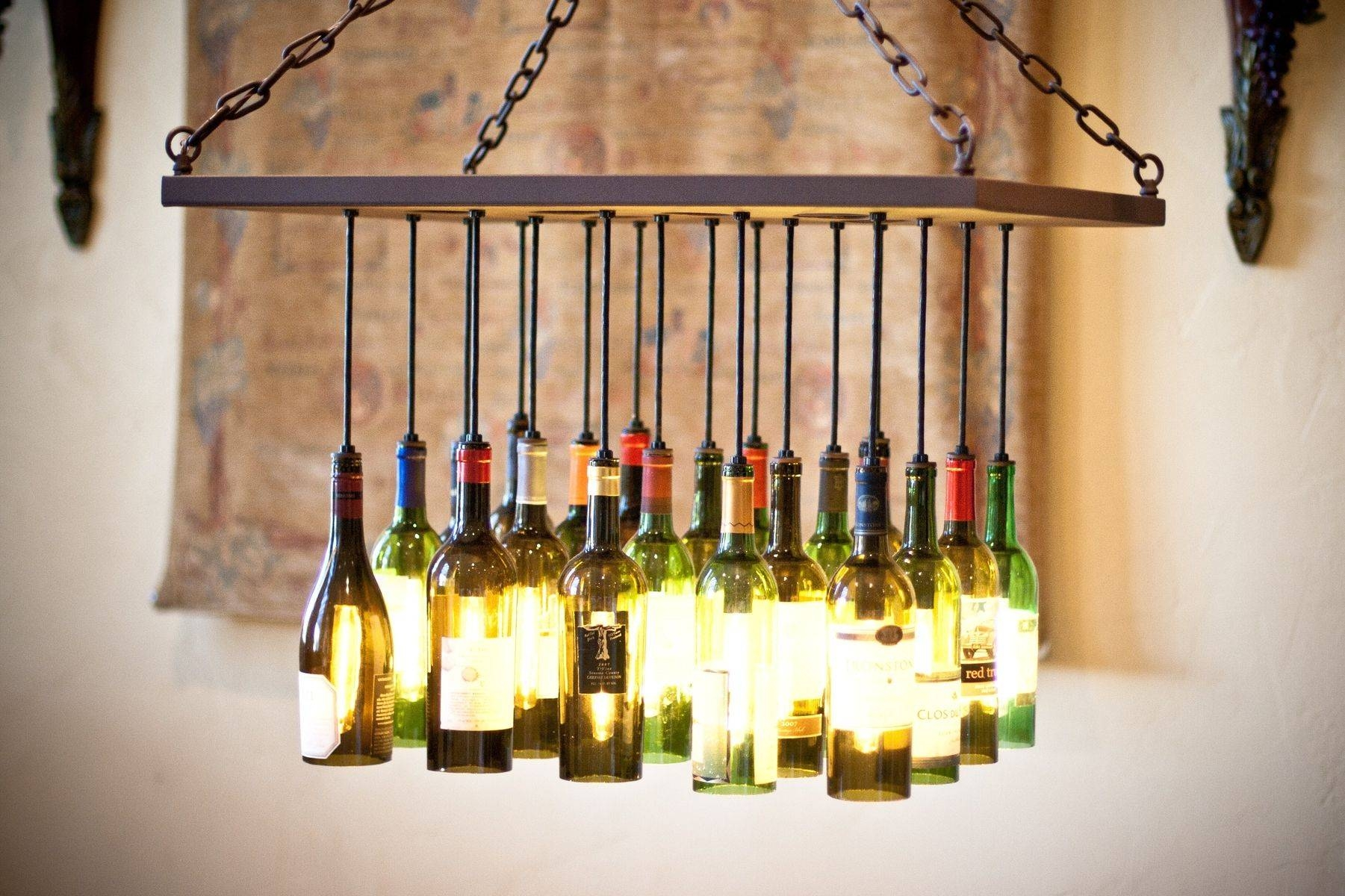 Custom Wine Bottle Chandelierby Gordon Living | Custommade throughout Wine Glass Lights Fixtures (Image 2 of 15)