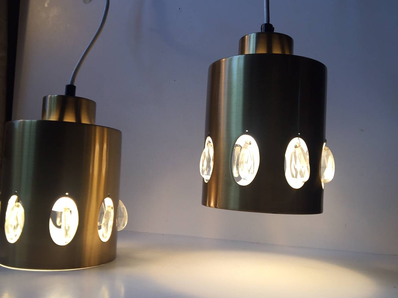 Danish Mid-Century Brass And Crystal Pendant Lights From Vitrika pertaining to 1960S Pendant Lights (Image 1 of 15)