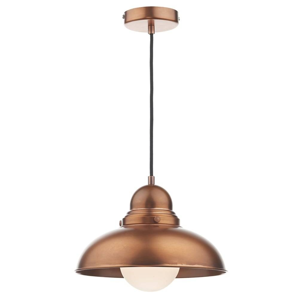 Dar Lighting Dynamo Metal Pendant Light In Antique Copper within 3 Lights Pendant Fitter (Image 3 of 15)