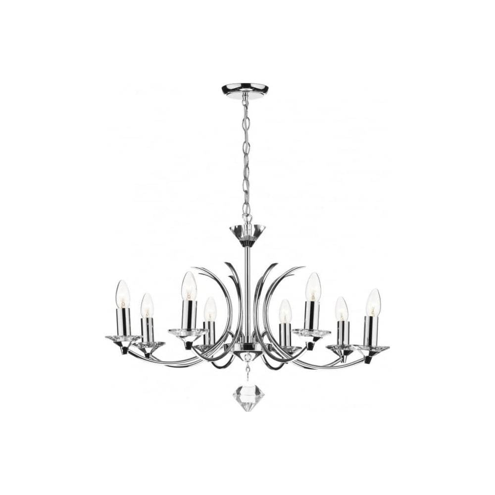 Dar Lighting Medusa Med0850 8 Light Crystal Pendant Light In In Medusa Pendant Lights (View 11 of 15)