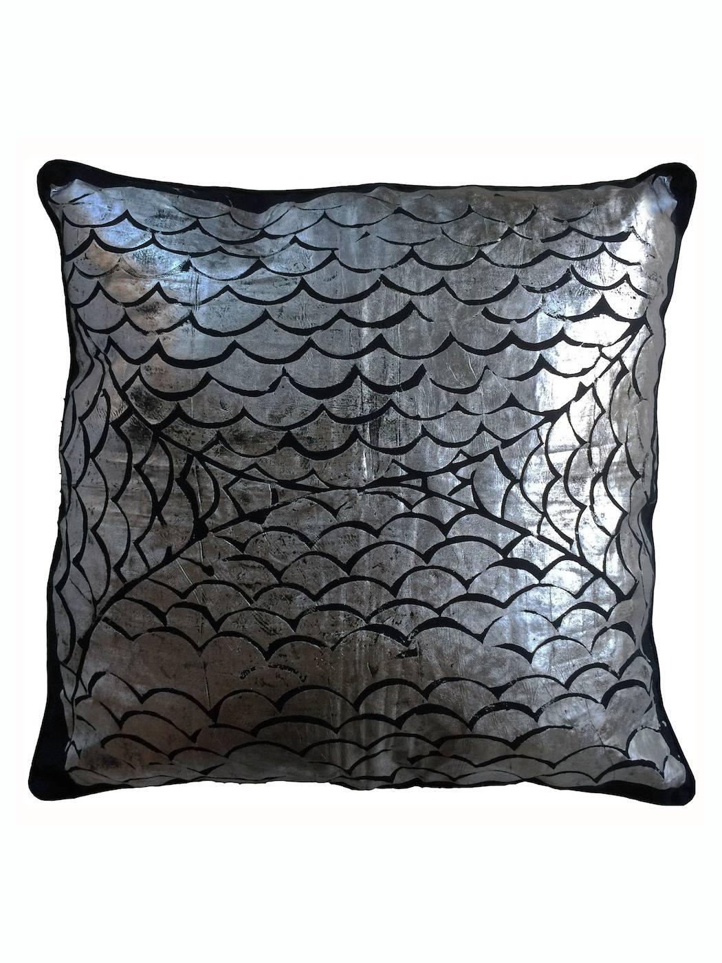 Dark Blue And Silver Mermaid Sofa Cushion Covers | Wright & Smith regarding Sofa Cushion Covers (Image 4 of 15)