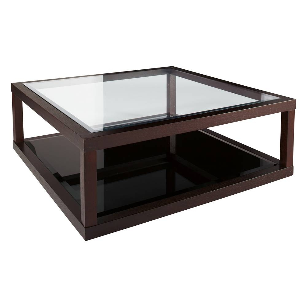 Dark Oak Frame Glass Coffee Table - Dwell throughout Oak And Glass Coffee Table (Image 7 of 15)