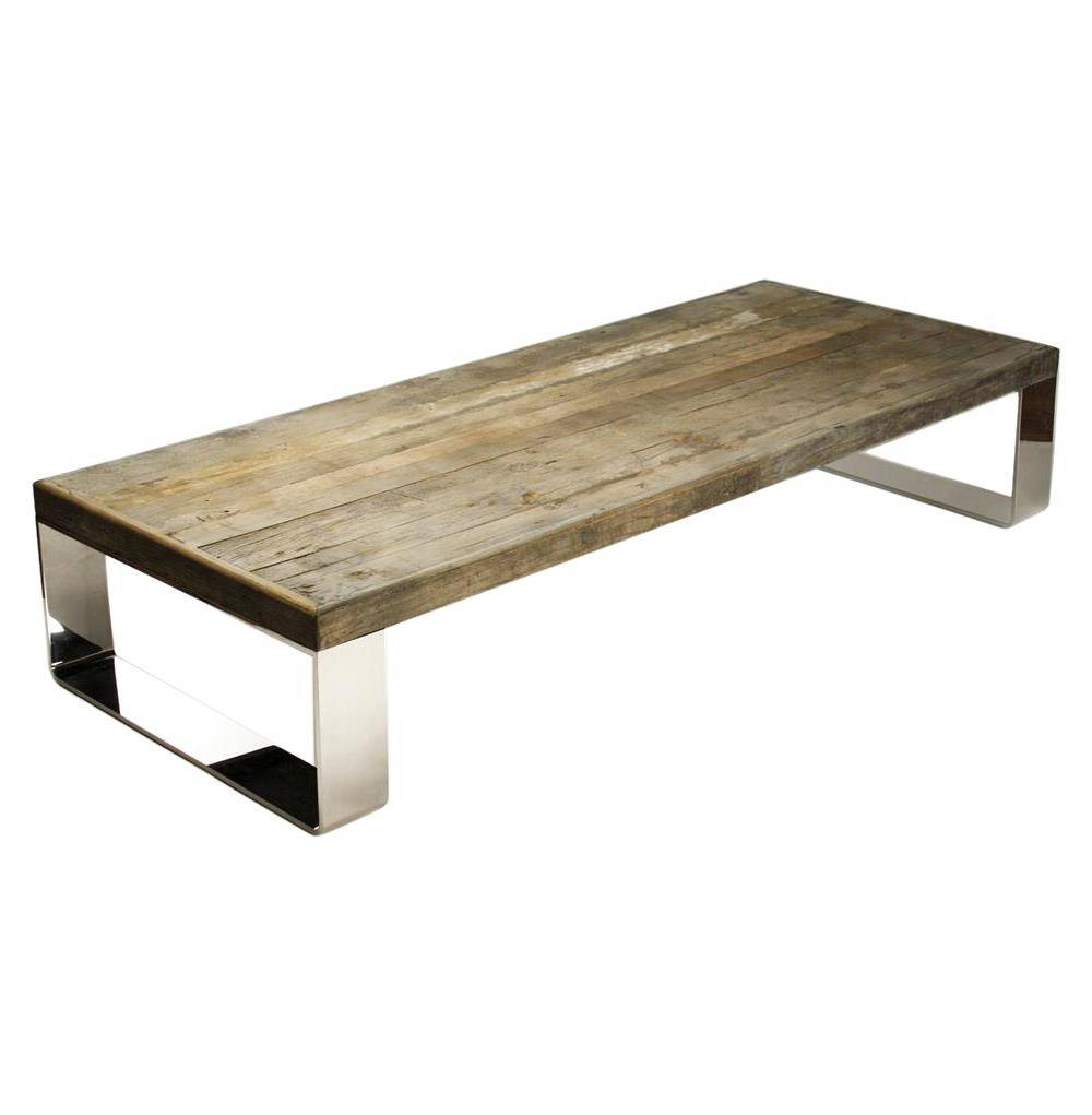 Darren Contemporary Reclaimed Wood Steel Coffee Table | Kathy Kuo Home throughout Steel And Wood Coffee Tables (Image 7 of 15)