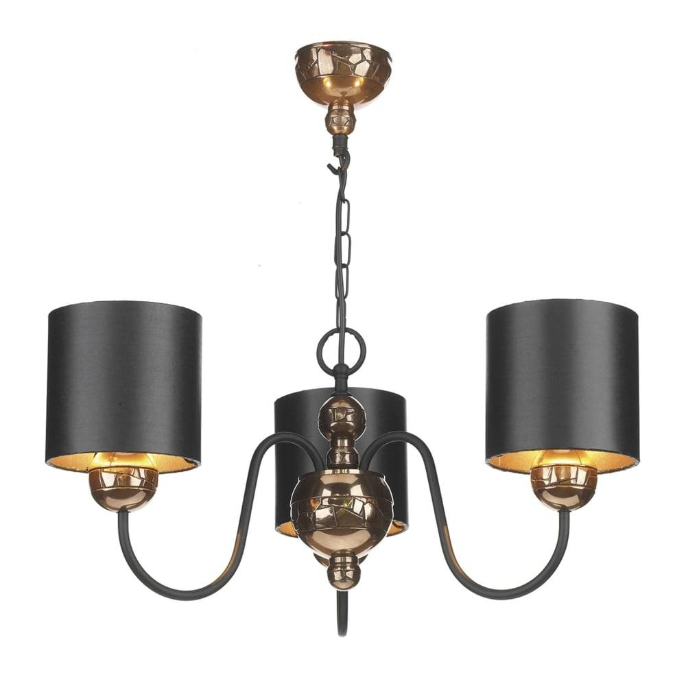 David Hunt Lighting Garbo 3 Light Bronze Pendant With Bronze Lined inside 3 Lights Pendant Fitter (Image 4 of 15)