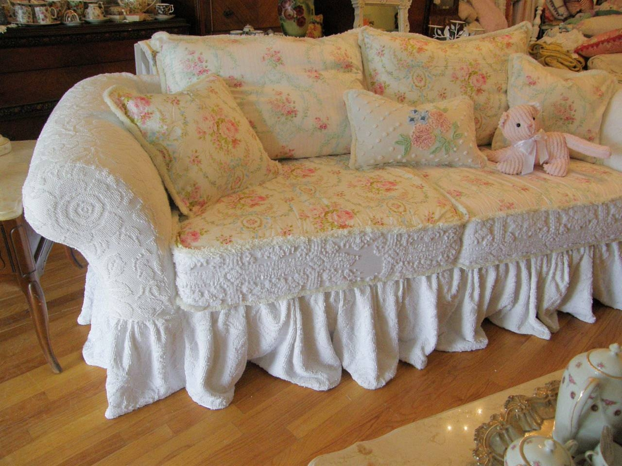 Decor: Lovely Shabby Chic Slipcovers For Enchanting Furniture throughout Shabby Chic Sectional Sofas Couches (Image 2 of 15)
