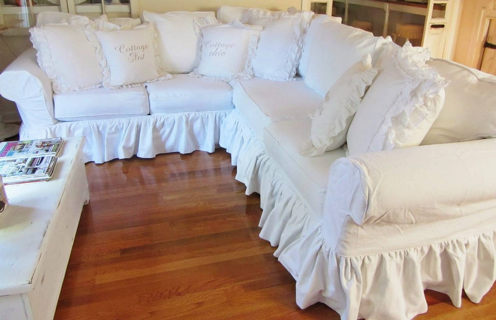 Decor: Lovely Shabby Chic Slipcovers For Enchanting Furniture With Regard  To Shabby Chic Sectional Sofas
