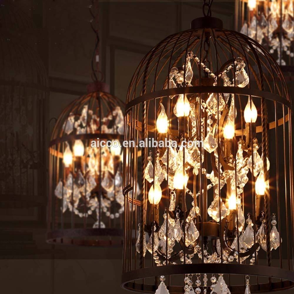Decor: Vintage Industrial Pendant Light Bird Cage With Crystal intended for Birdcage Lighting Chandeliers (Image 10 of 15)