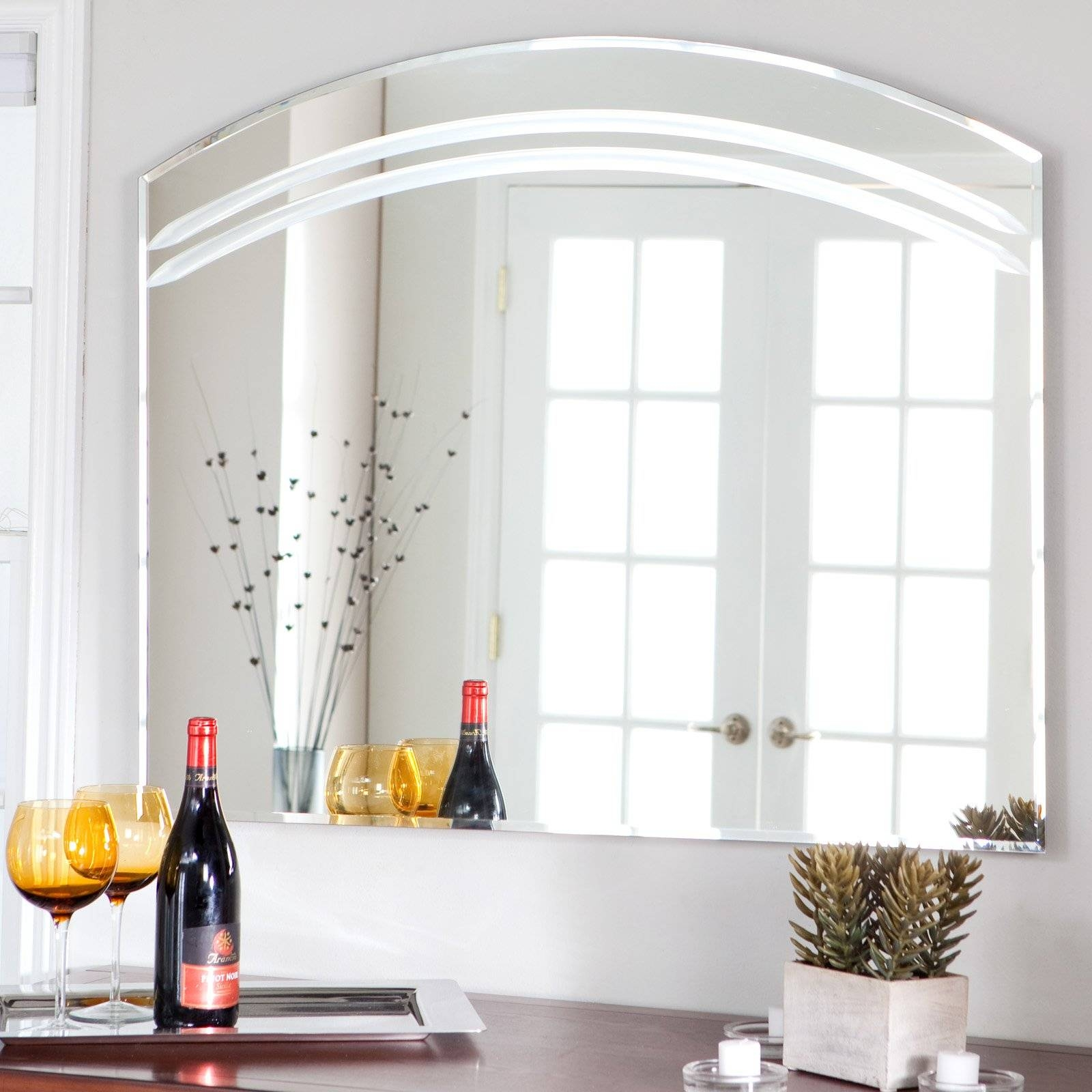 Décor Wonderland Angel Large Frameless Arched Wall Mirror - 39.5W with Frameless Wall Mirrors (Image 3 of 15)