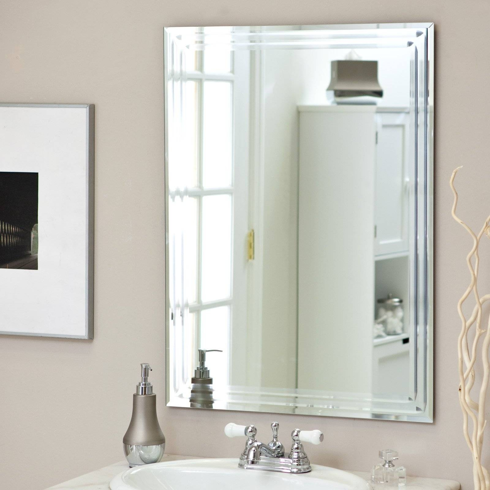 Décor Wonderland Frameless Tri Bevel Wall Mirror - 23.5W X throughout Frameless Wall Mirrors (Image 5 of 15)