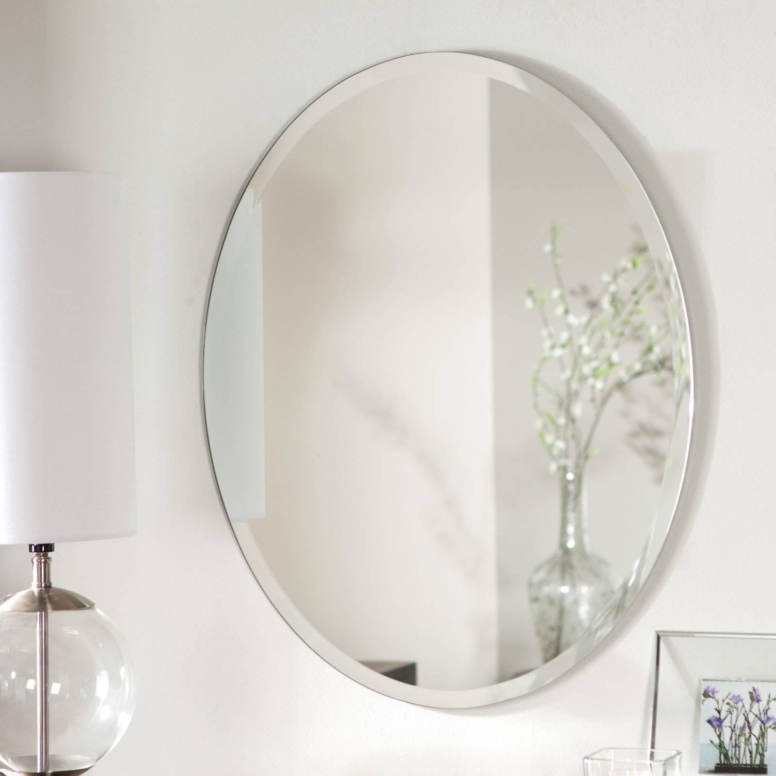 Décor Wonderland Odelia Oval Bevel Frameless Wall Mirror - 22W X throughout Frameless Wall Mirrors (Image 6 of 15)