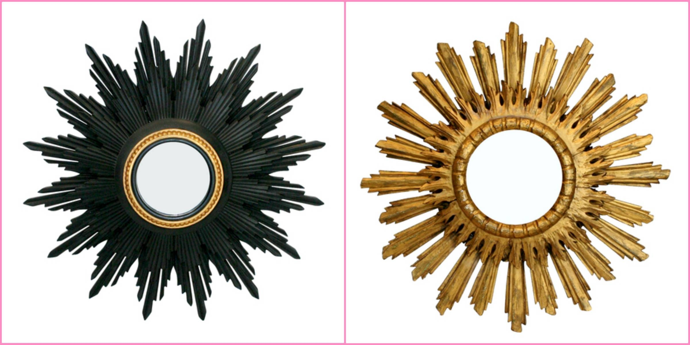 Decorating: Wooden Gold Sunburst Mirror For Wall Accessories Ideas intended for Black And Gold Wall Mirrors (Image 9 of 15)