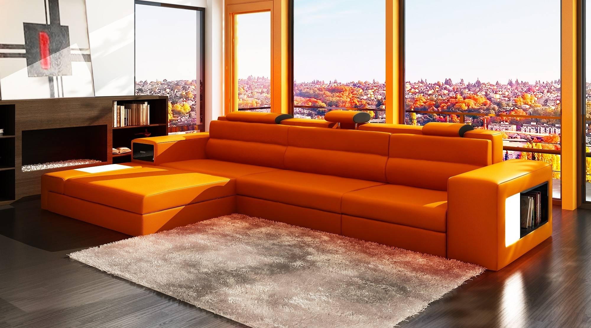 Decoration Orange Leather Sofa With Polaris Orange Contemporary Pertaining  To Burnt Orange Leather Sectional Sofas (