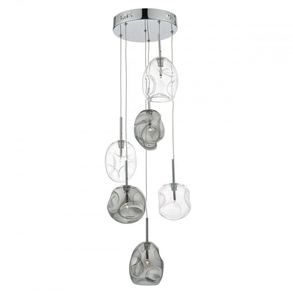 Decorative Organic Shaped Clear And Smokey Glass Cluster Pendant With Regard To Cluster Glass Pendant Light Fixtures (View 6 of 15)