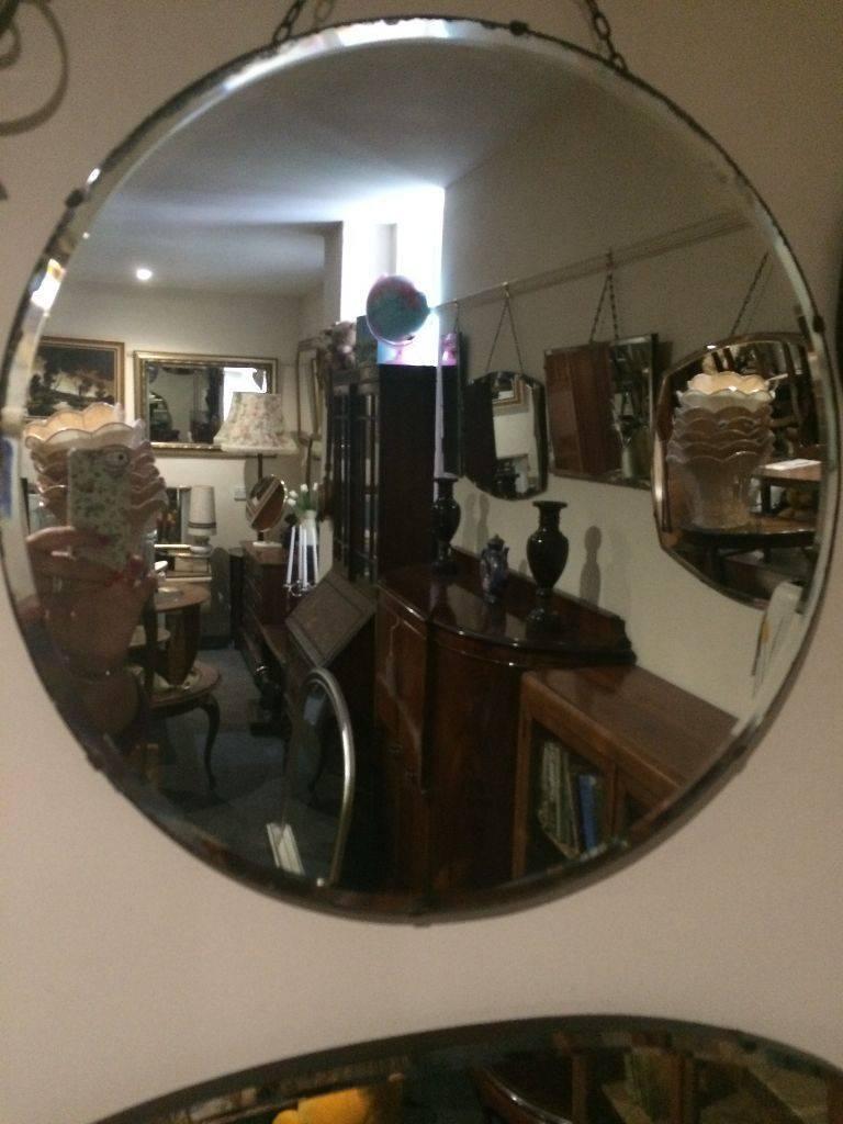 Delightful Large Round Vintage Art Deco Frameless Bevelled Edge pertaining to Art Deco Frameless Mirrors (Image 12 of 15)