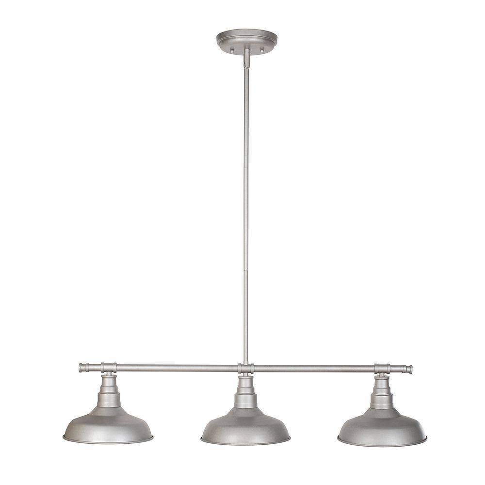 Design House Kimball 3-Light Galvanized Steel Indoor Pendant in Stainless Steel Pendant Lights Fixtures (Image 1 of 15)