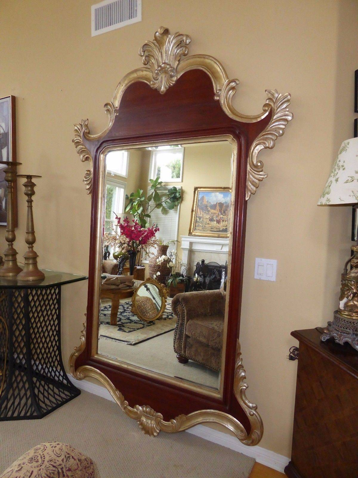 Designer 95Tall Rococo Ornate Wood Gold Gilt Wall Mantle Mirror throughout Gold Mantle Mirrors (Image 6 of 15)