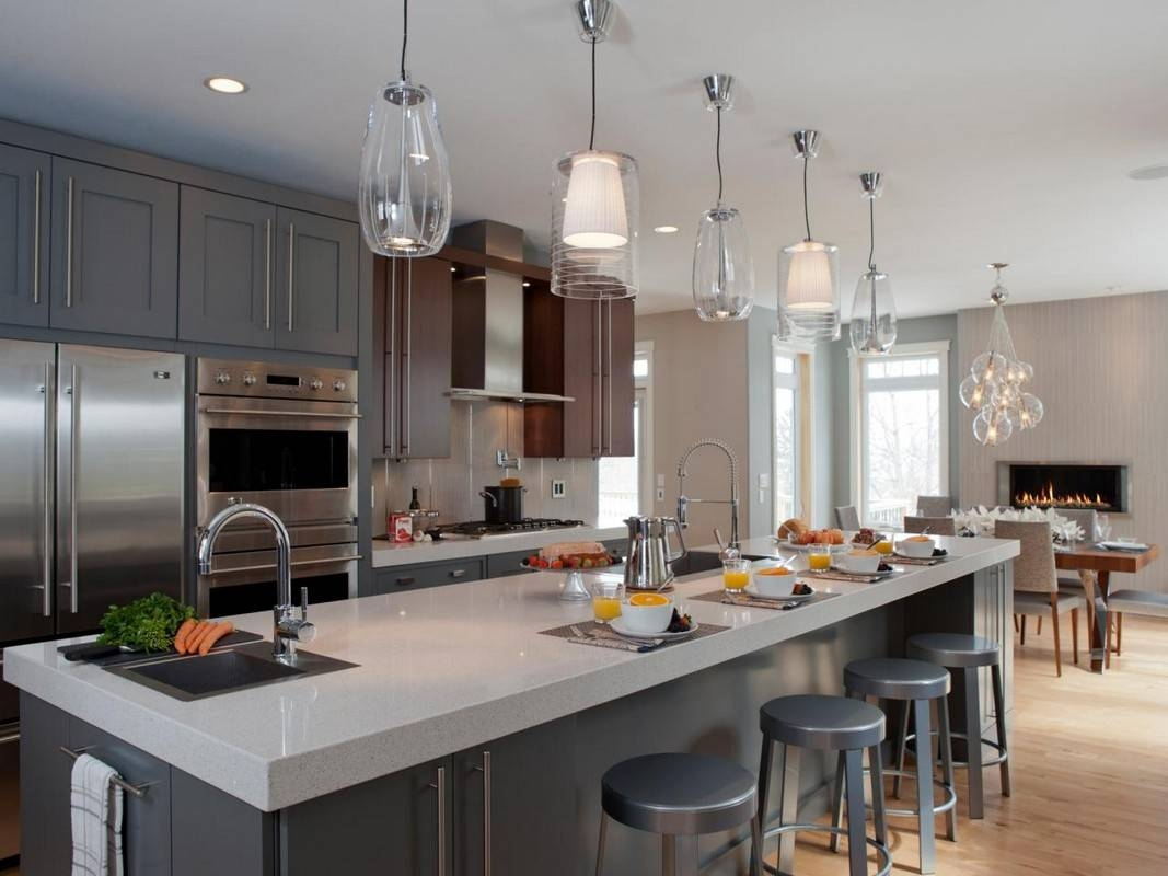 Different Ways To Hang Mini Pendant Lights Over Kitchen Tables in Mini Pendants for Kitchen Island (Image 3 of 15)