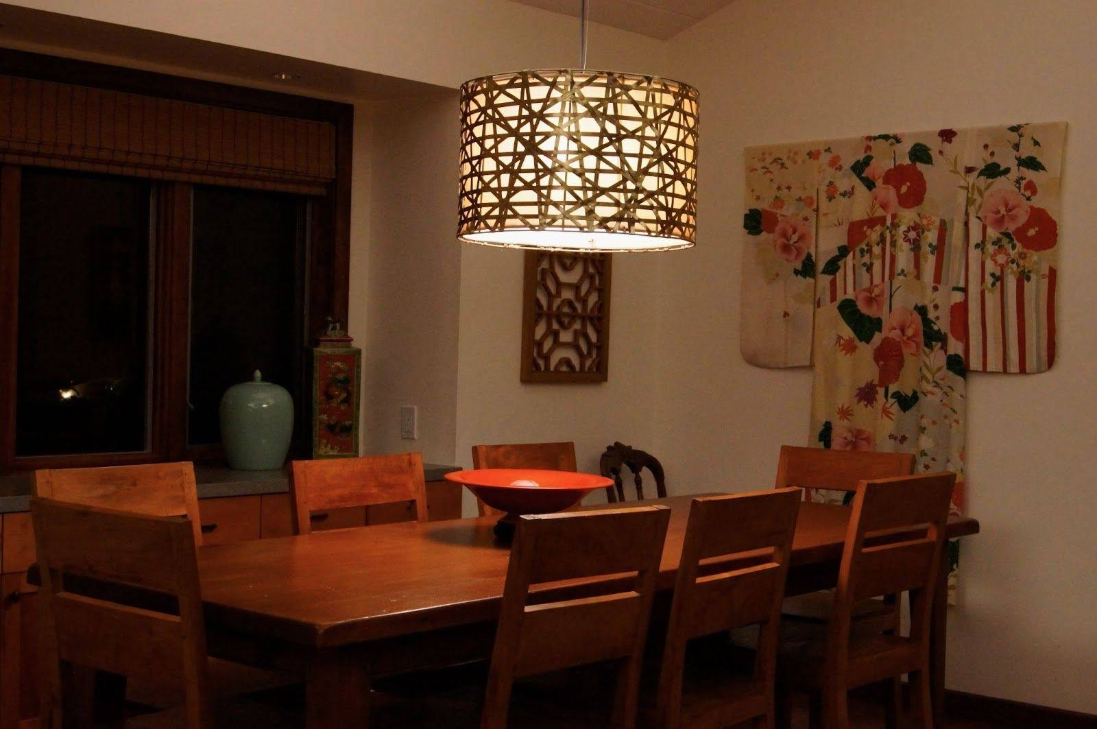 Dining Room Lighting Ikea Dark Brown Varnished Wooden Dining Table in Ikea Drum Lights (Image 6 of 15)