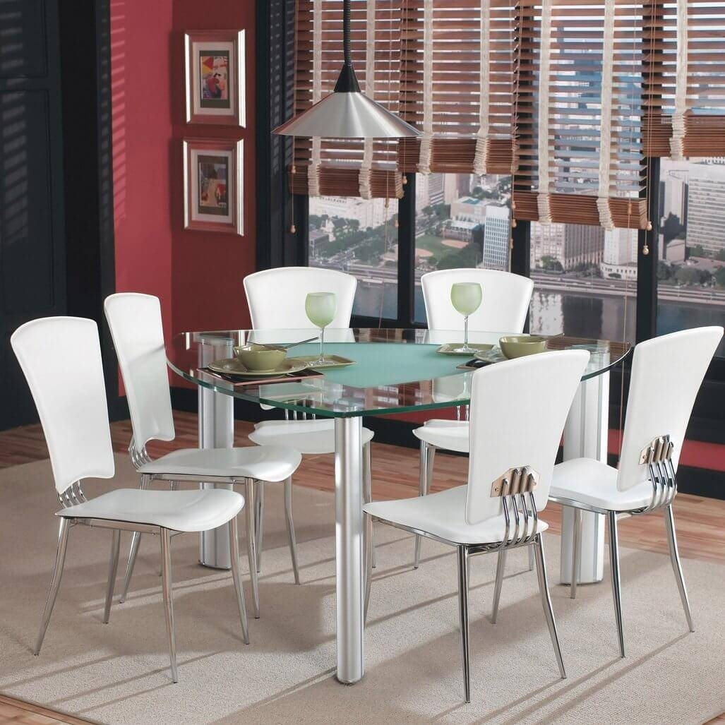 Dining Room: Round Counter Height Triangle Glass Dining Table Tool pertaining to Dining Table With Sofa Chairs (Image 11 of 15)