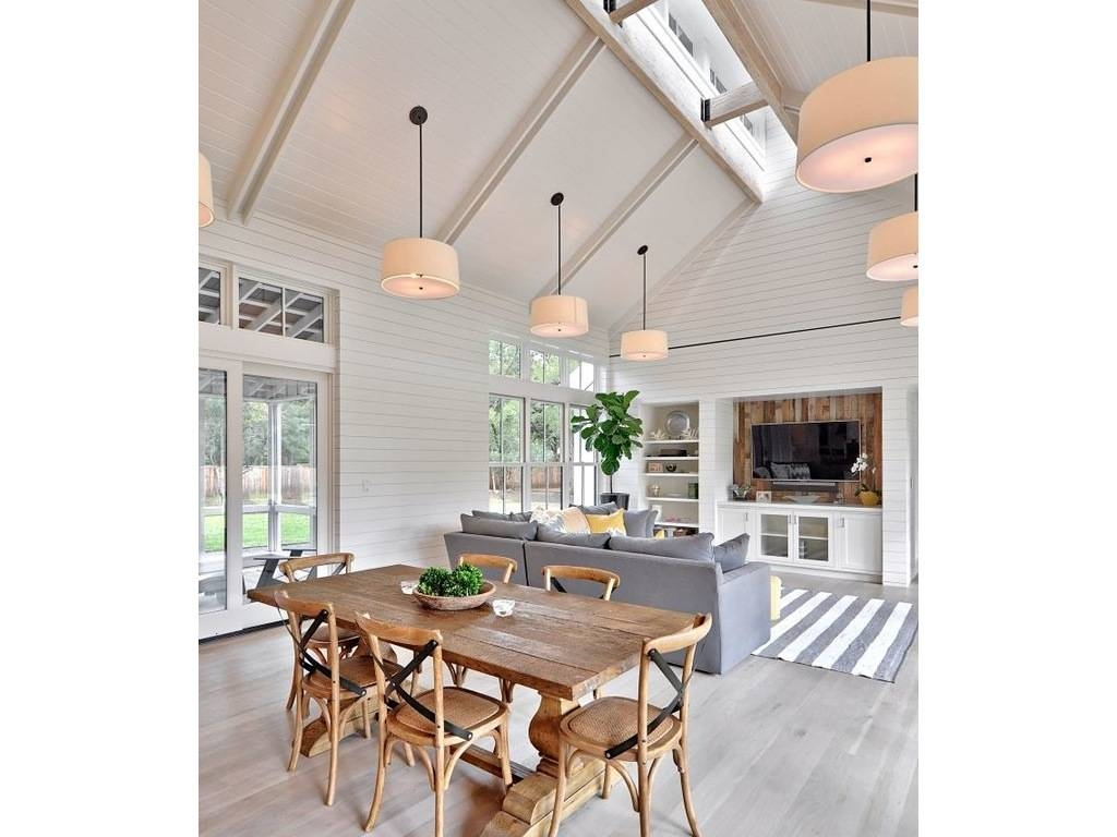 Dining Rooms: Shiplap Siding Barnwood Dining Table Chairs Drum With Regard To Sloped Ceiling Pendant Lights (View 6 of 15)