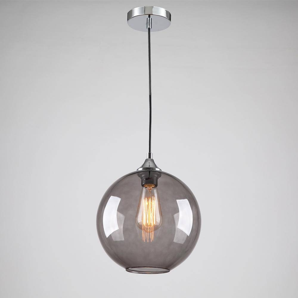 Discount Modern Glass Pendant Light In Round Smoke Grey Bubble with Bubble Glass Pendant Lights (Image 8 of 15)