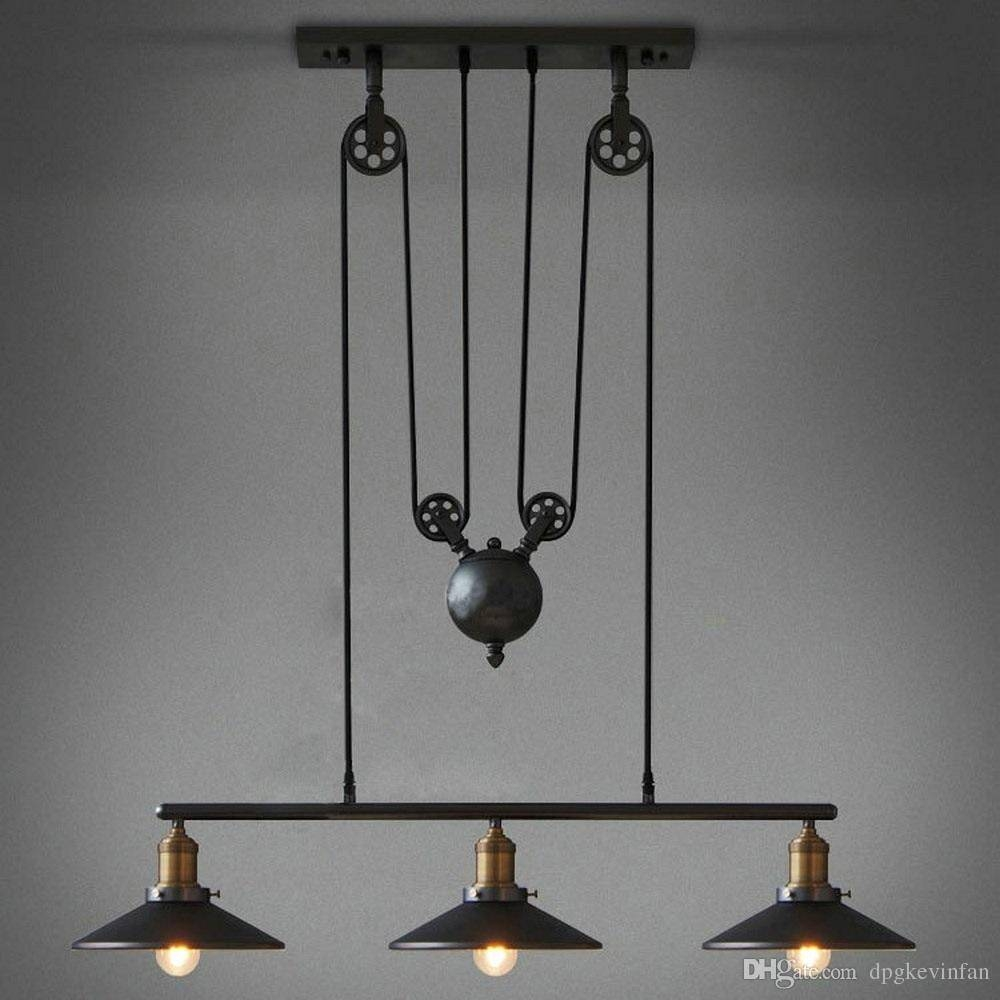 Discount Pendant Lights American Retro Industrial Style Pulley intended for Industrial Looking Pendant Light Fixtures (Image 3 of 15)