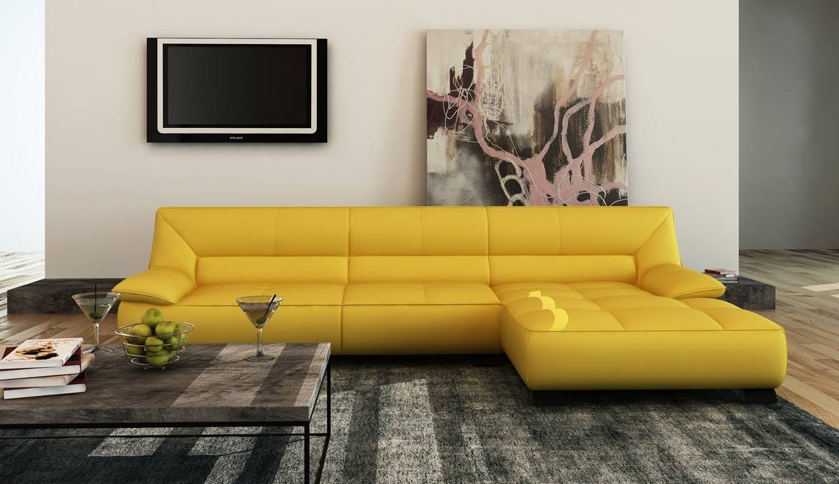 Divani Casa 5121b Modern Yellow Bonded Leather Sectional Sofa Within Yellow Sectional Sofas (View 6 of 15)