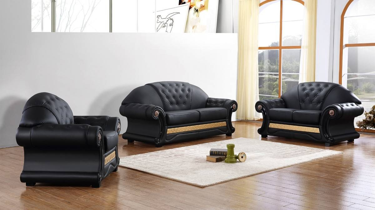 Divani Casa Cleopatra Traditional Black Leather Sofa Set Intended For Cleopatra Sofas (View 10 of 15)