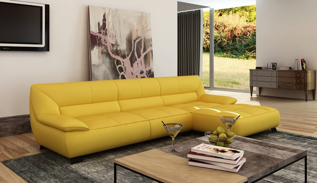 Divani Casa Leven Modern Yellow Leather Sectional Sofa Inside Yellow Sectional Sofas (View 2 of 15)