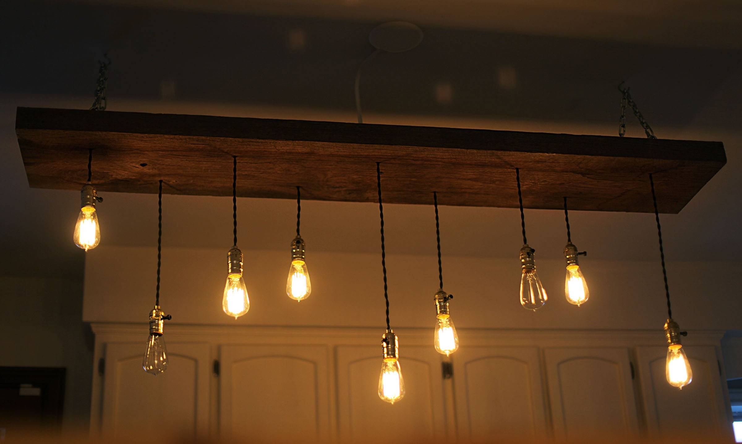 Diy Reclaimed Lumber Hanging Edison Bulb Chandelier | Unmaintained throughout Bare Bulb Pendant Lights Fixtures (Image 6 of 15)