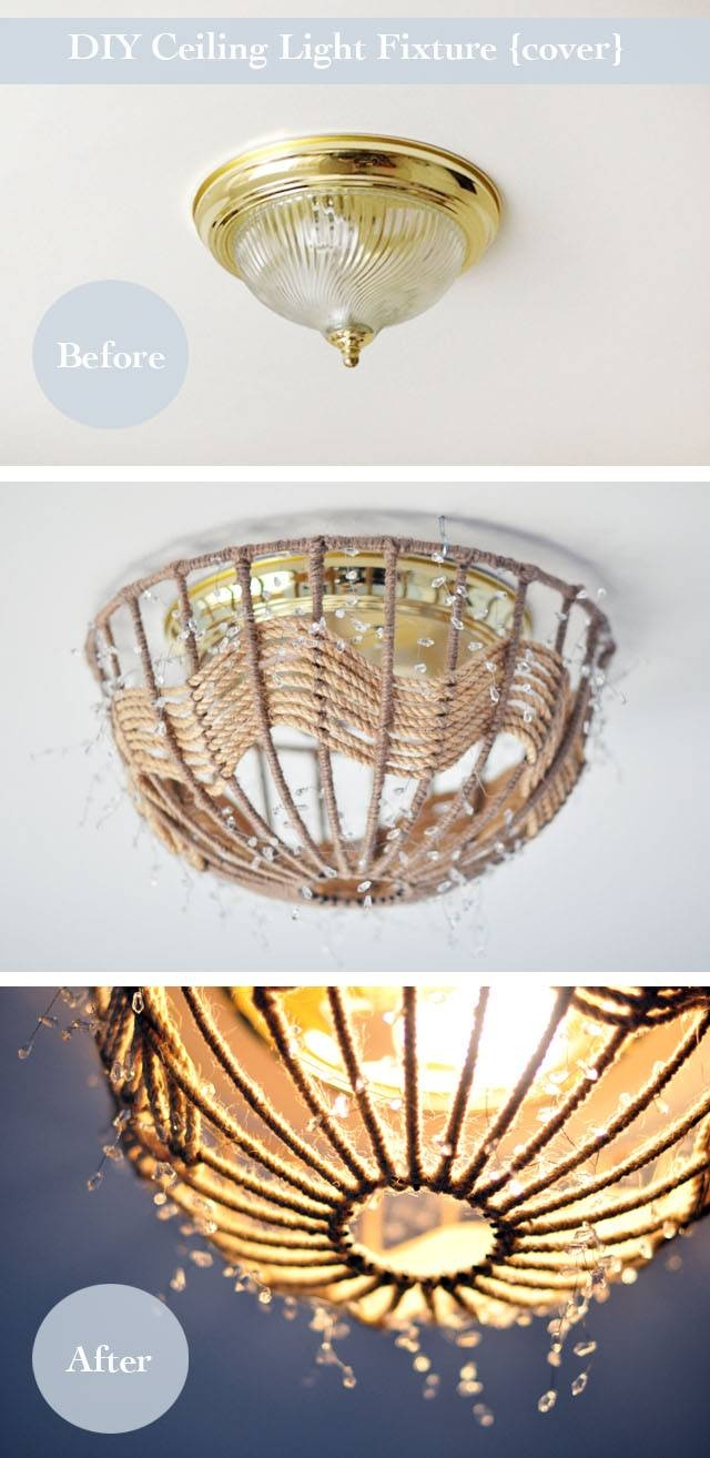 Diy Rope Pendant Lamp / How-To Disguise Old {Ugly} Ceiling within Pendant Lights Cover Plate (Image 9 of 15)