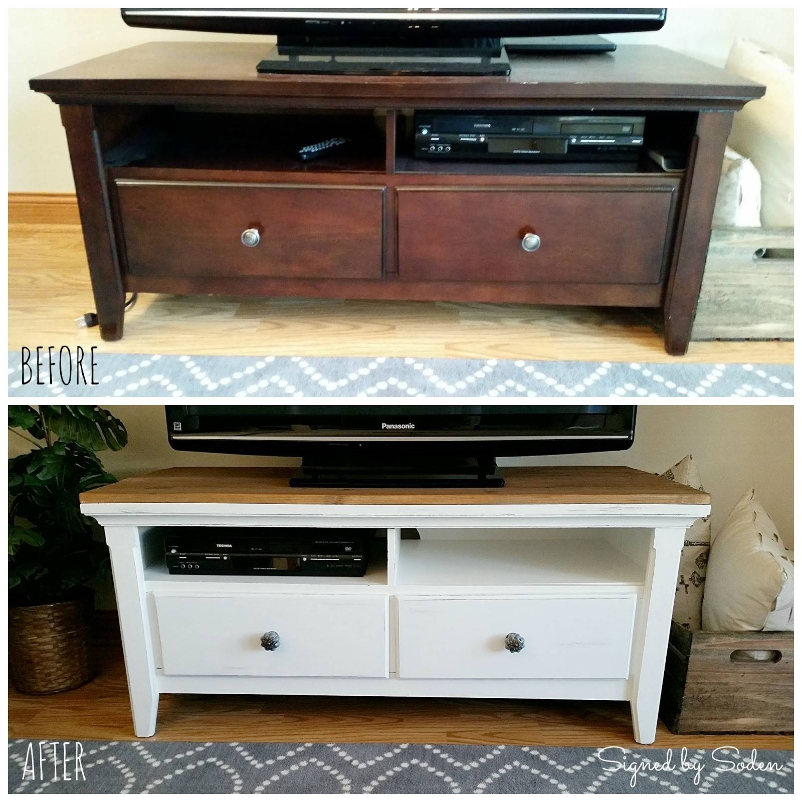 Diy: Rustic Coffee Table And Tv Stand Makeover - Signedsoden pertaining to Rustic Coffee Table and Tv Stand (Image 9 of 15)