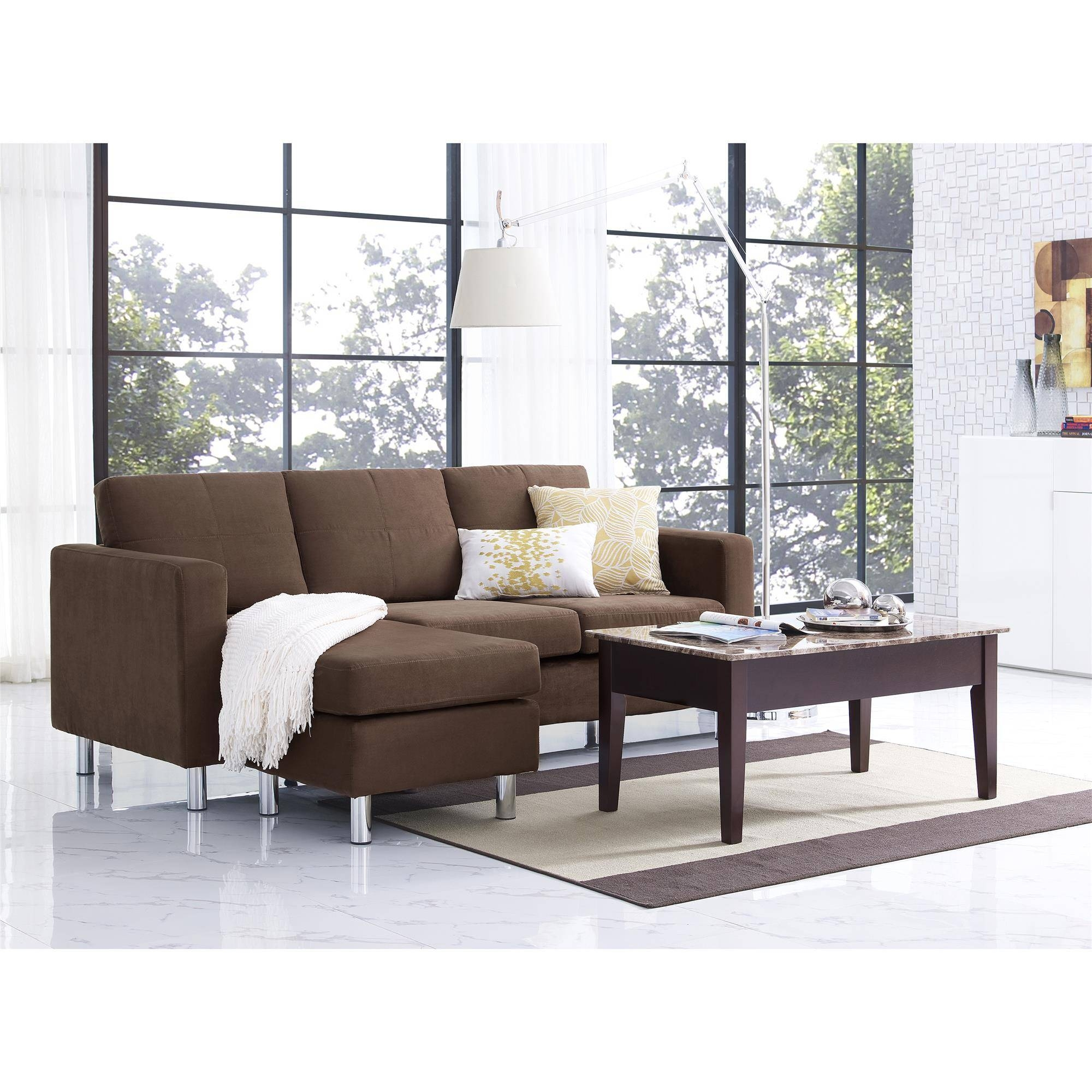 Dorel Living | Small Spaces Configurable Sectional Sofa, Brown Within Small Spaces Configurable Sectional Sofas (View 4 of 15)