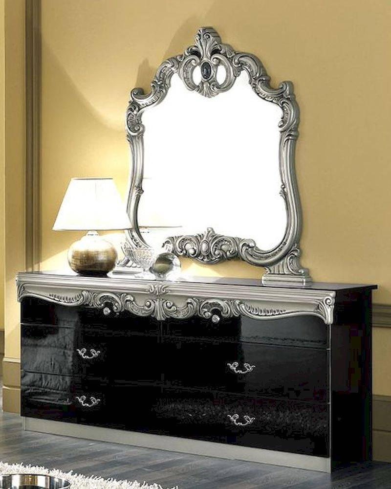 Dresser And Mirror Silver Baroque Classic Style Made In Italy 33B444 with regard to Silver Baroque Mirrors (Image 5 of 15)