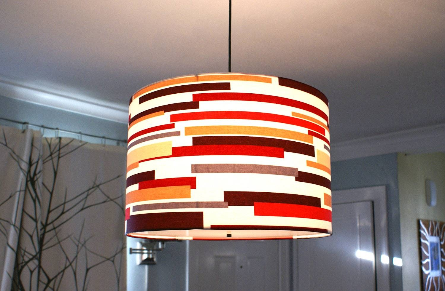 Drum Pendant Light. Shallow Drum Pendant Light Modern Glass for Red Drum Pendants (Image 12 of 15)