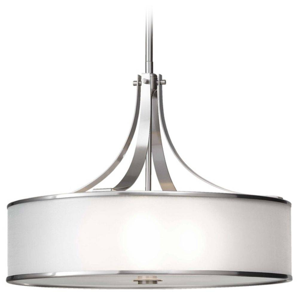 Drum Pendant Light With Silver Shade In Brushed Steel Finish in Brushed Steel Pendant Lights (Image 2 of 15)