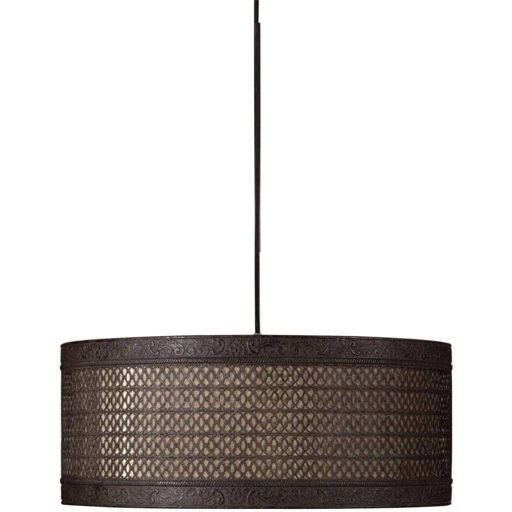 Drum - Pendant Lights - Hanging Lights - The Home Depot within Barrel Pendant Lights (Image 8 of 15)