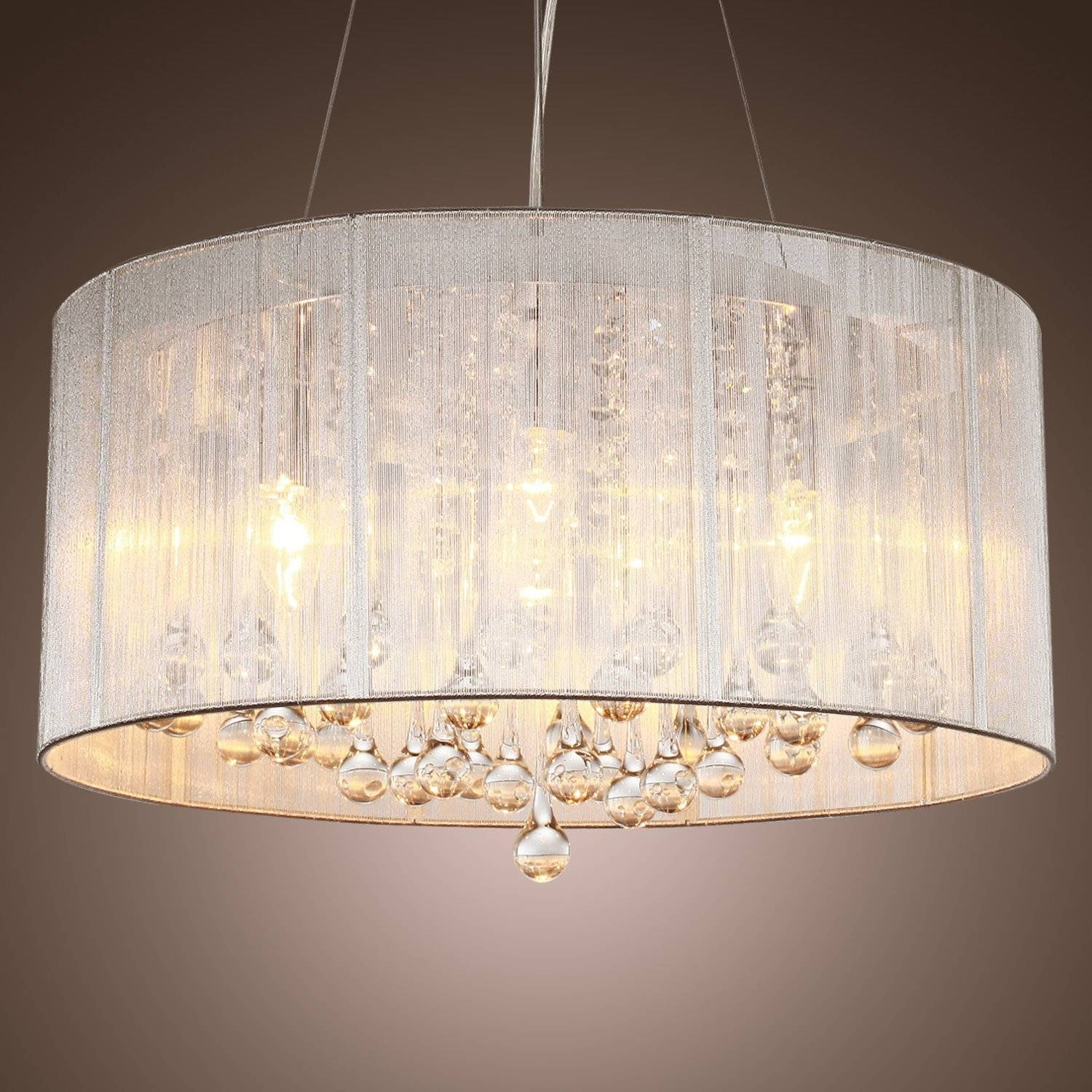 Drum Shade Chandelier With Crystals | Chandelier Models in Shell Light Shades Pendants (Image 3 of 15)