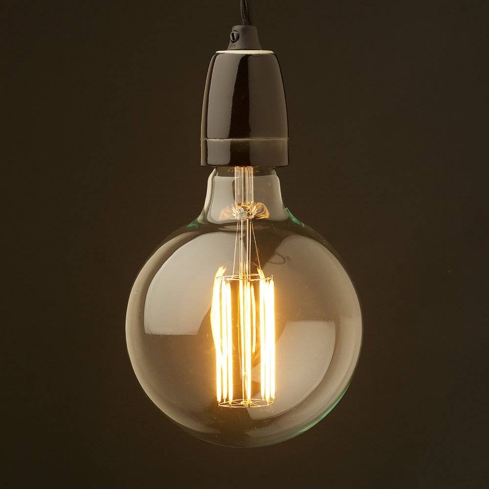 Edison Style Light Bulb And E27 Black Fine Porcelain Pendant with regard to Bare Bulb Fixtures (Image 9 of 15)