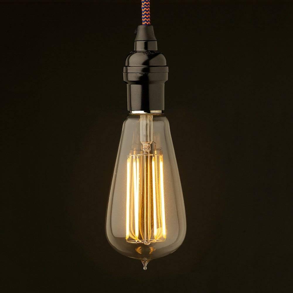 Edison Style Light Bulb Vintage Bakelite Fitting inside Bare Bulb Pendants (Image 10 of 15)