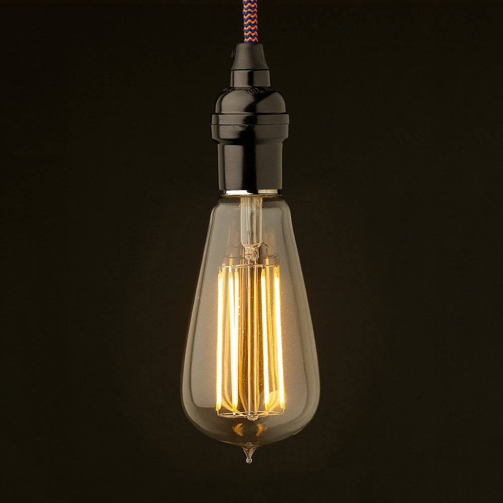 Edison Style Light Bulb Vintage Bakelite Fitting pertaining to Bare Bulb Pendant Lights Fixtures (Image 8 of 15)