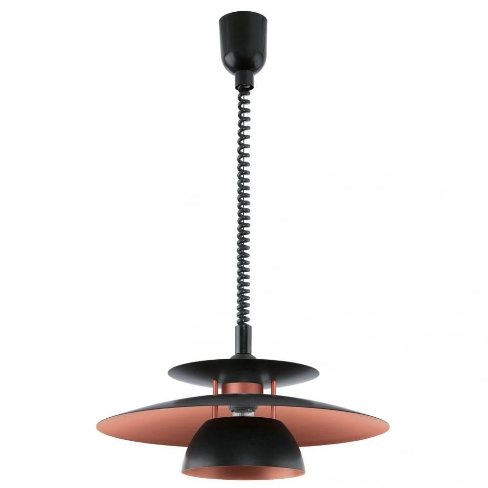 Eglo 31666 Brenda Rise And Fall Ceiling Pendant In Black And Copper for Rise and Fall Pendant Lighting (Image 7 of 15)