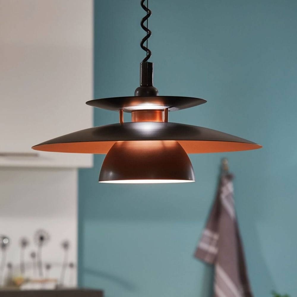 Eglo 31666 Brenda Rise And Fall Ceiling Pendant In Black And Copper for Rise And Fall Pendants (Image 4 of 15)