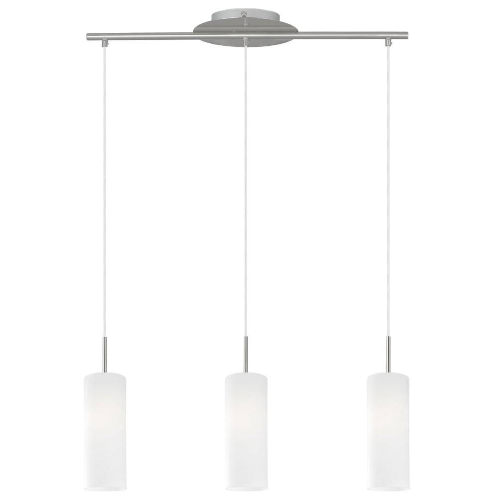 Eglo 85978 Troy 3 Triple Drop White Satinated Glass Pendant Light Intended For 3 Pendant Light Kits (View 13 of 15)