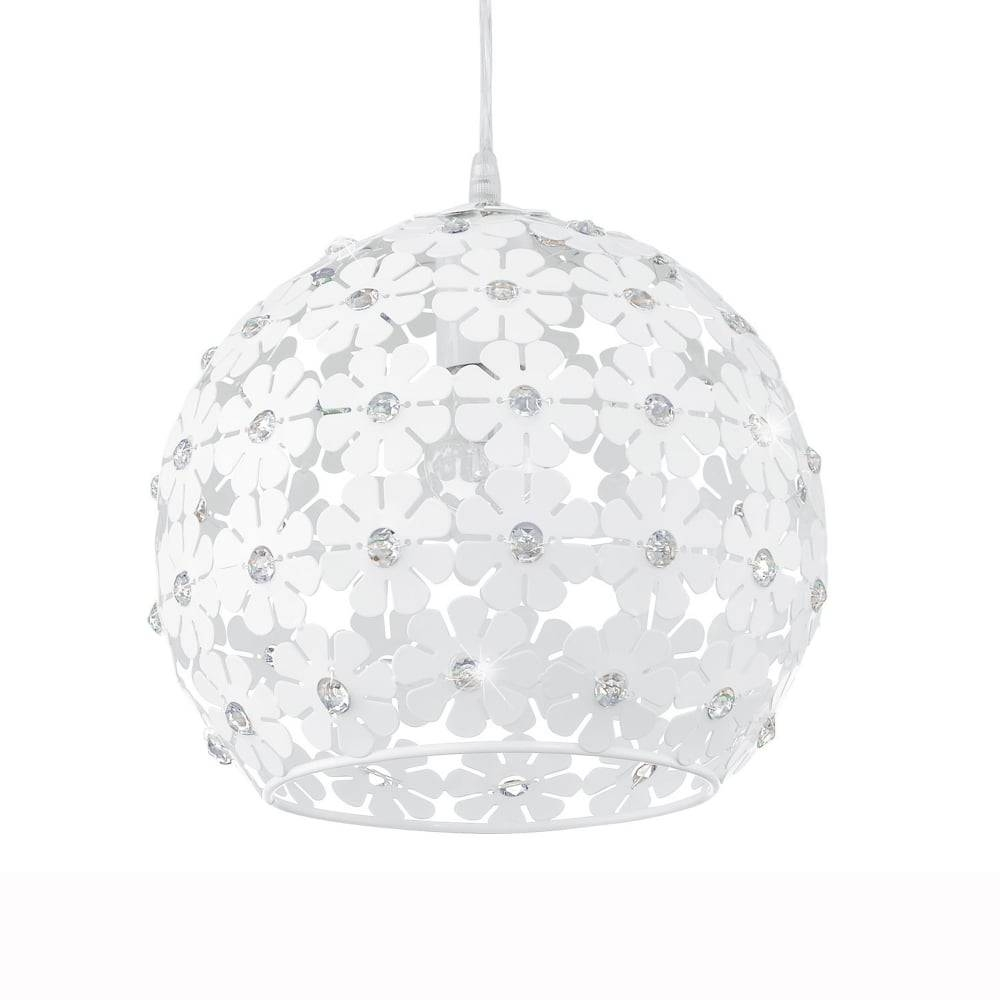 15 collection of white flower pendant lights eglo 92283 hanifa white flower globe pendant light in white flower pendant lights image 5 mightylinksfo