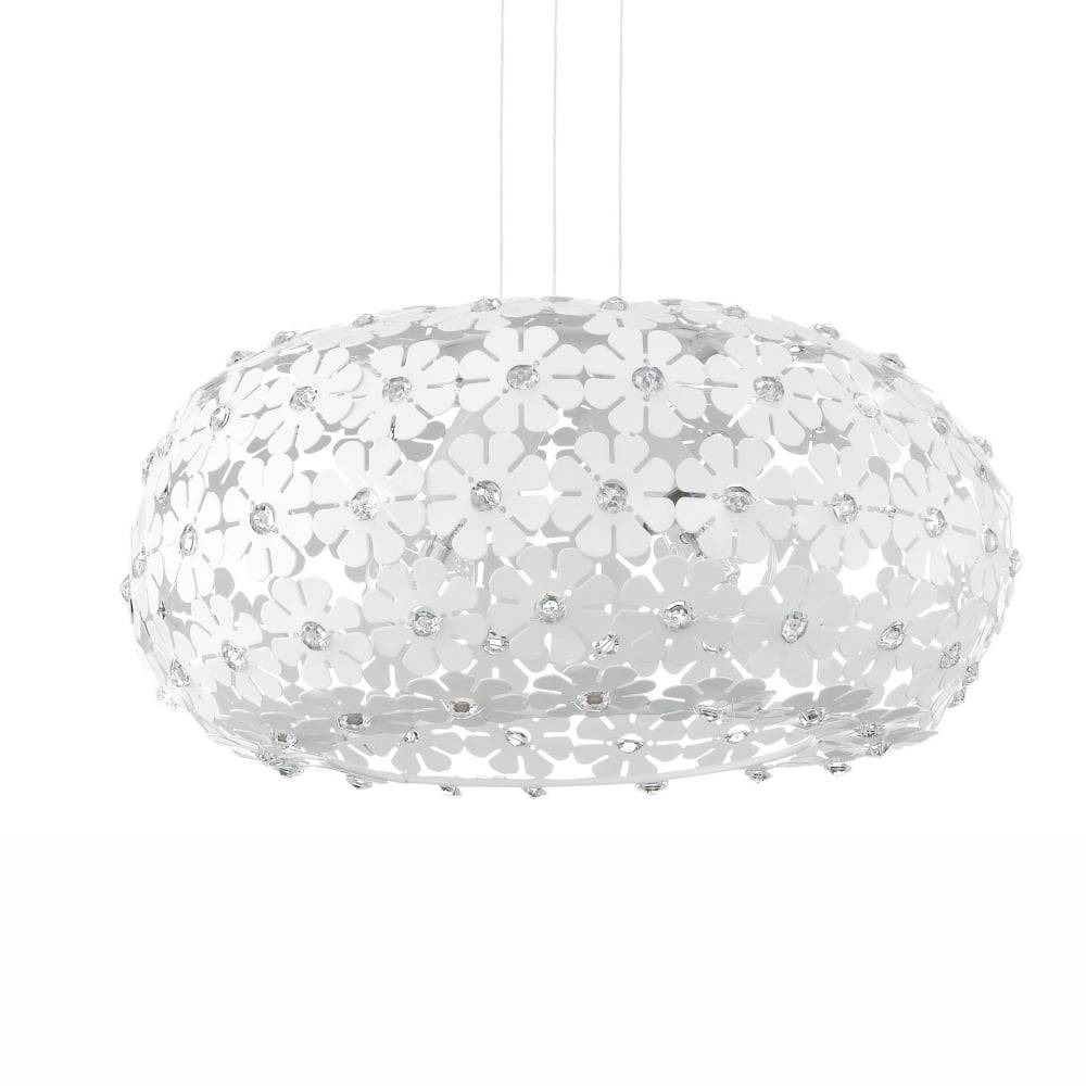 Eglo 92284 Hanifa White Flower Large Globe Pendant Light within White Flower Pendant Lights (Image 6 of 15)