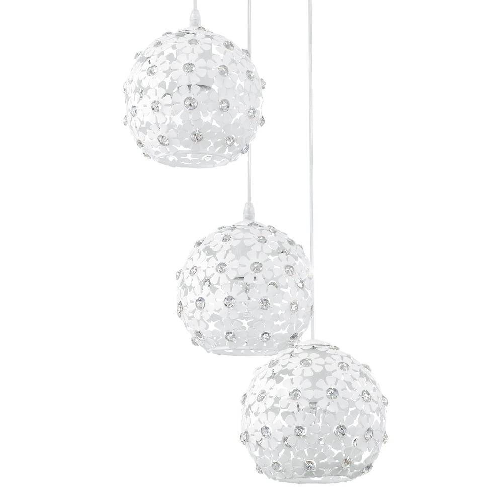Eglo 92285 Hanifa White Flower Triple Globe Pendant Light inside White Flower Pendant Lights (Image 7 of 15)
